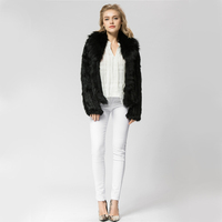 CR072 4 Knitted real rabbit fur coat overcoat jacket with fox fur collar Russian women's winter thick warm genuine fur coat