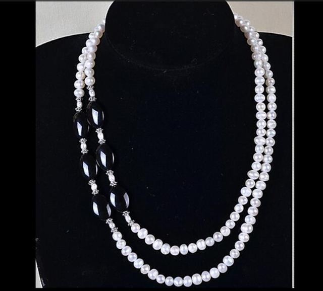 Wedding Woman Jewelry Shining Rhinestone Choker Necklace 7-8mm 100% Real Natural White Pearl Black Agate Multilayer Necklace