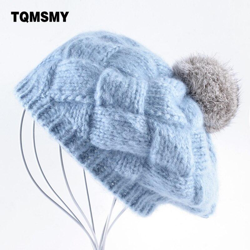 TQMSMY Schöne Winter hüte für frauen Gestrickte wolle Berets mädchen Echt kaninchen haar ball cap pompom baskenmütze damen gorras Planas boina
