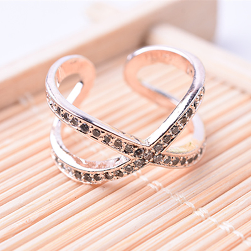 Hot Sale Fashion Crystal Cross Ring Female Letter X Shape Rings Party index Finger Ring Gifts Free Shipping Open design