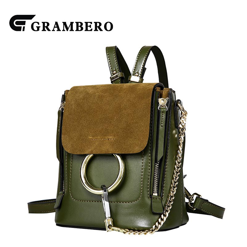 Creative Genuine Leather Ring Chain Women Backpack Cowhide Split Leather for Girl Shopping Party Bags Shoulder Bag Sent Friends 2018 new style soft genuine leather zipper backpack black color cow leather women fashion bag for party sent friends school bags