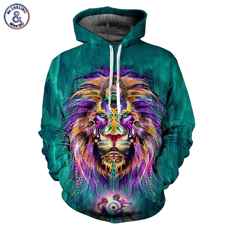 Mr 1991INC Hot Sale Men Women Hooded Hoodies 3d Print Green Digigtal Lion King Unisex 3d