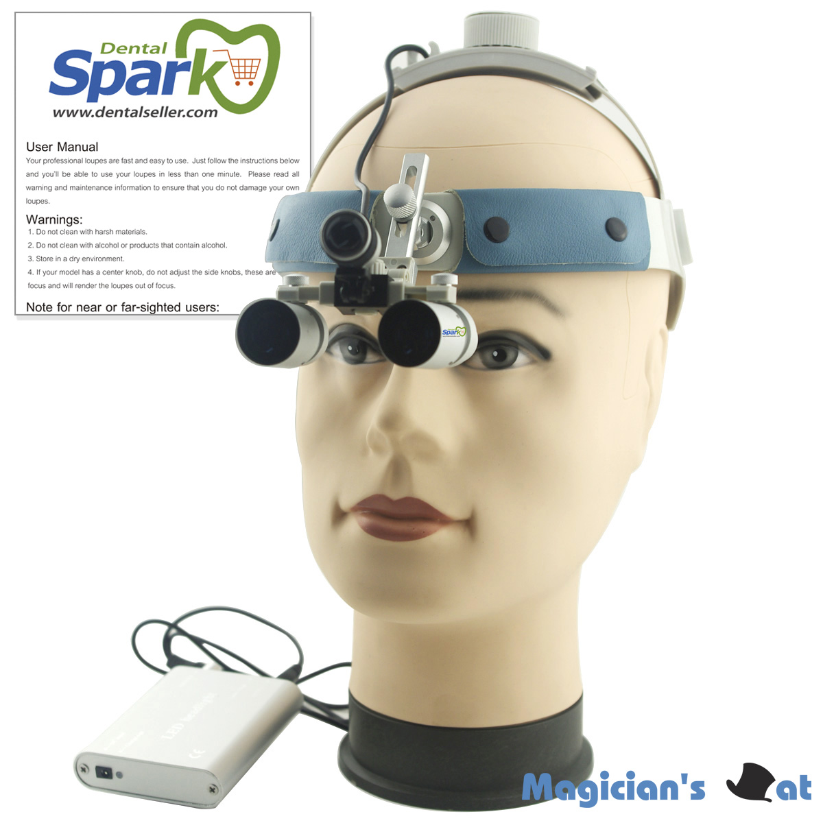 Spark 4.0x Magnification Professional Loupes with Comfortable Headband and Mounted LED Head Light Adjustable Pupil Distance  spark 2 5x magnification dentist surgical medical binocular dental loupes with comfortable headband and mounted led head light
