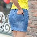 ¡ Venta caliente! 2016 falda de Mezclilla ocasional Delgado del nuevo del verano jean vaquero faldas cortas faldas de alta calidad mujeres paquete hip minifalda