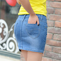 Hot Sale! 2016 casual Denim skirt new summer Slim jean skirts high quality cowboy short skirts  women package hip miniskirt