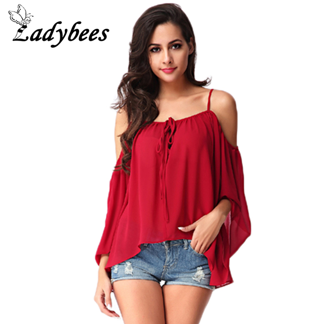 76abdaa8f299 LAYBEES Women Chiffon Shirts long sleeve Summer T shirt sexy off shoulder  Camis shirt Plus Size Red loose casual Boho Tops Beach