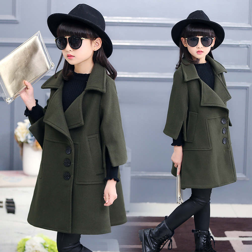 Kids Girls wool coat new Korean long section of the spring and autumn clothing woolen coat new autumn period and the star of a women s clothing stripe trench coat female suit shorts cultivate morality