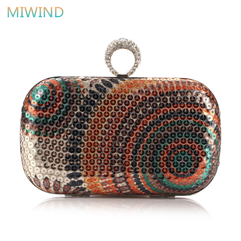 MIWIND Women bag 2017 elegant evening bags rhinestone women paillette flower day clutches female dinner shoulder bags EB12