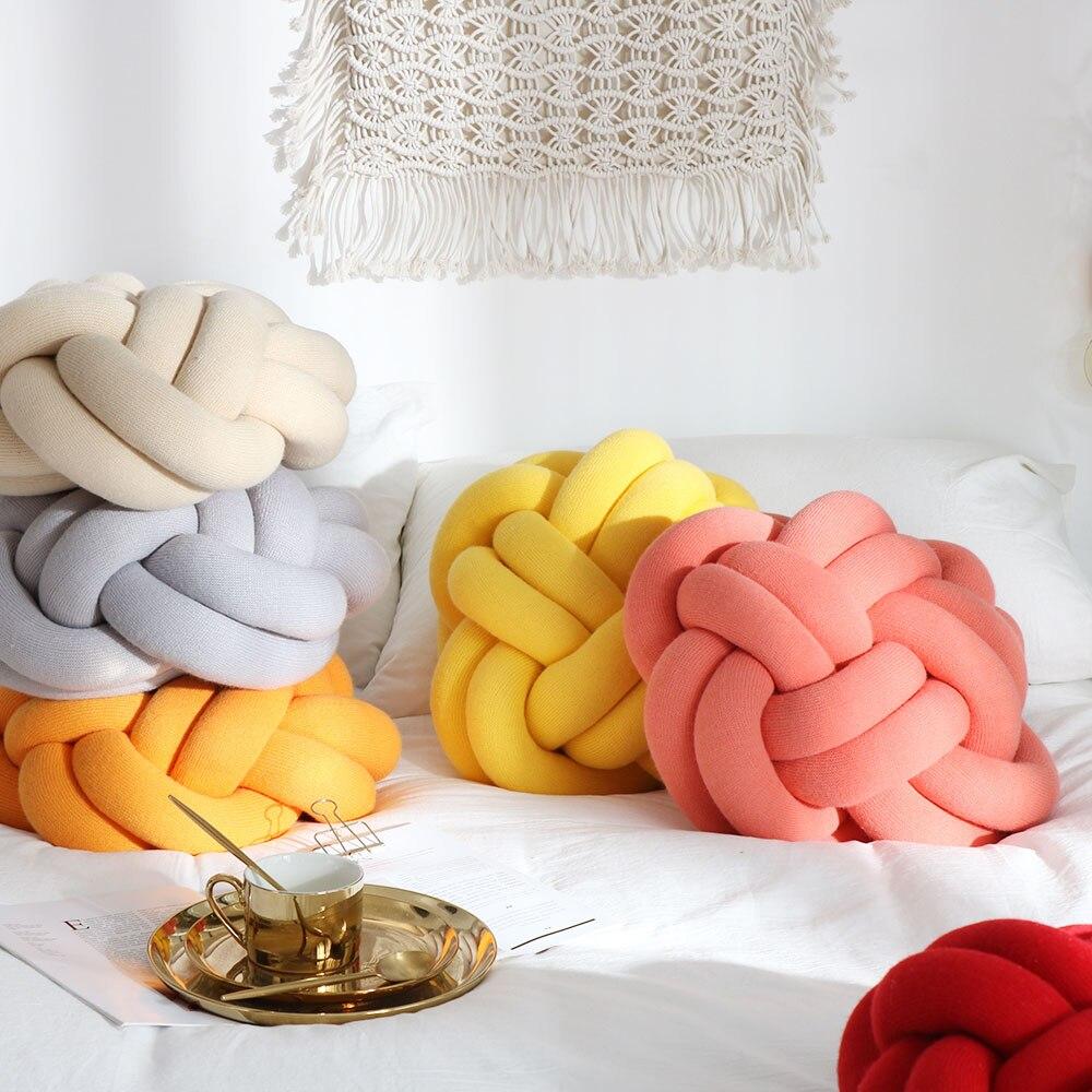 IDouillet Creative à la main ronde boule noeud jeter oreiller Jersey tricot décoratif sol coussin pépinière décor à la maison