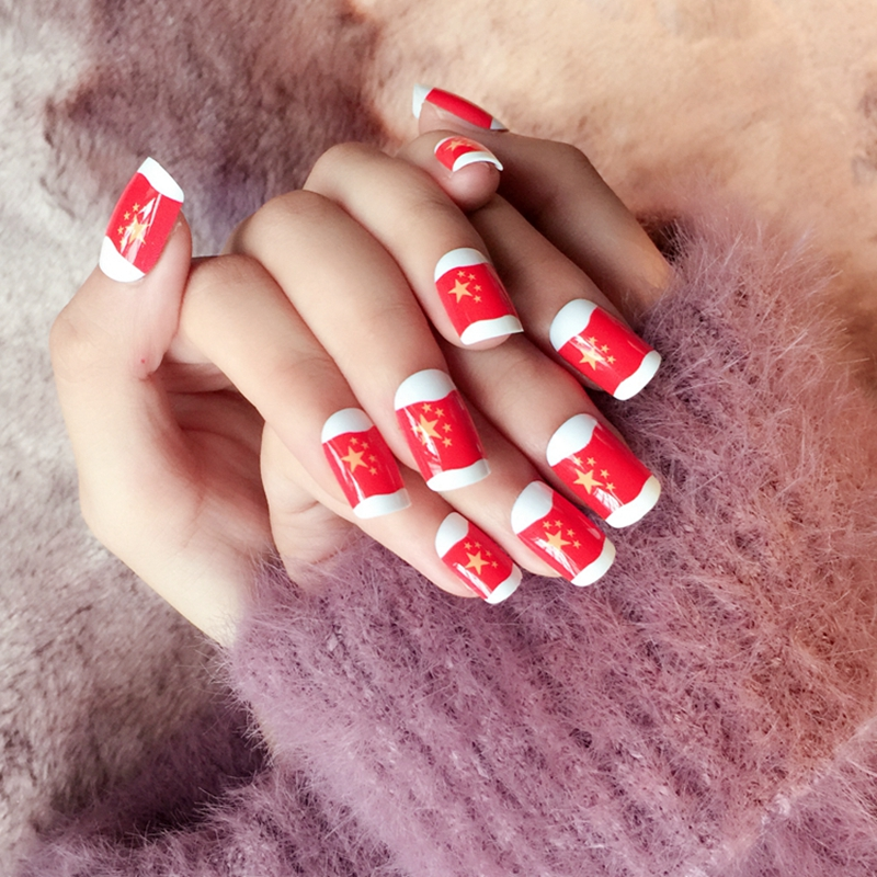 ᗐStars Flag Fake Nails Chinese Red Flag White Lady Acrylic False ...