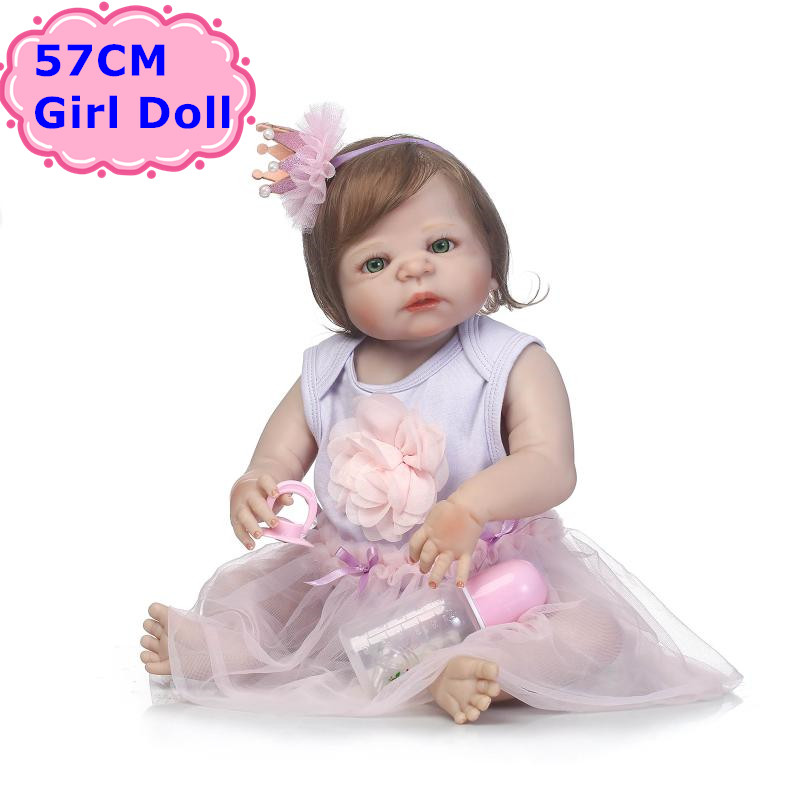 NPK Doll New Design 57CM Full Body Silicone Bebe Reborn Boneca Alive Baby Princess In Nice Dress Girls Playmate Toys Child Gifts bigbang 2012 bigbang live concert alive tour in seoul release date 2013 01 10 kpop