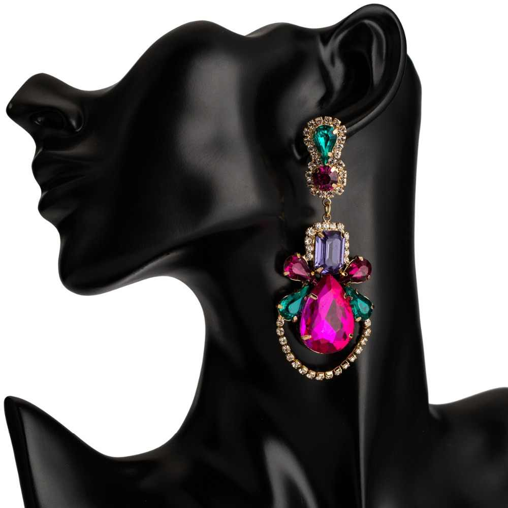 Kmvexo gota de água oorbellen geométrico colorido cristal grande balançar brincos para as mulheres 2019 festa de casamento pendientes mujer moda