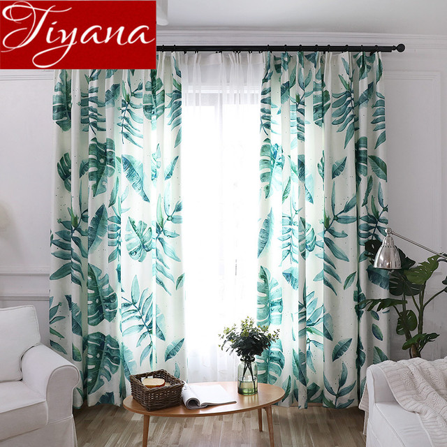 Leaves Curtains Green Sheer Voile Window Modern Living Room Bedroom Curtians Tulle White D Rustic Rideaux X280 30