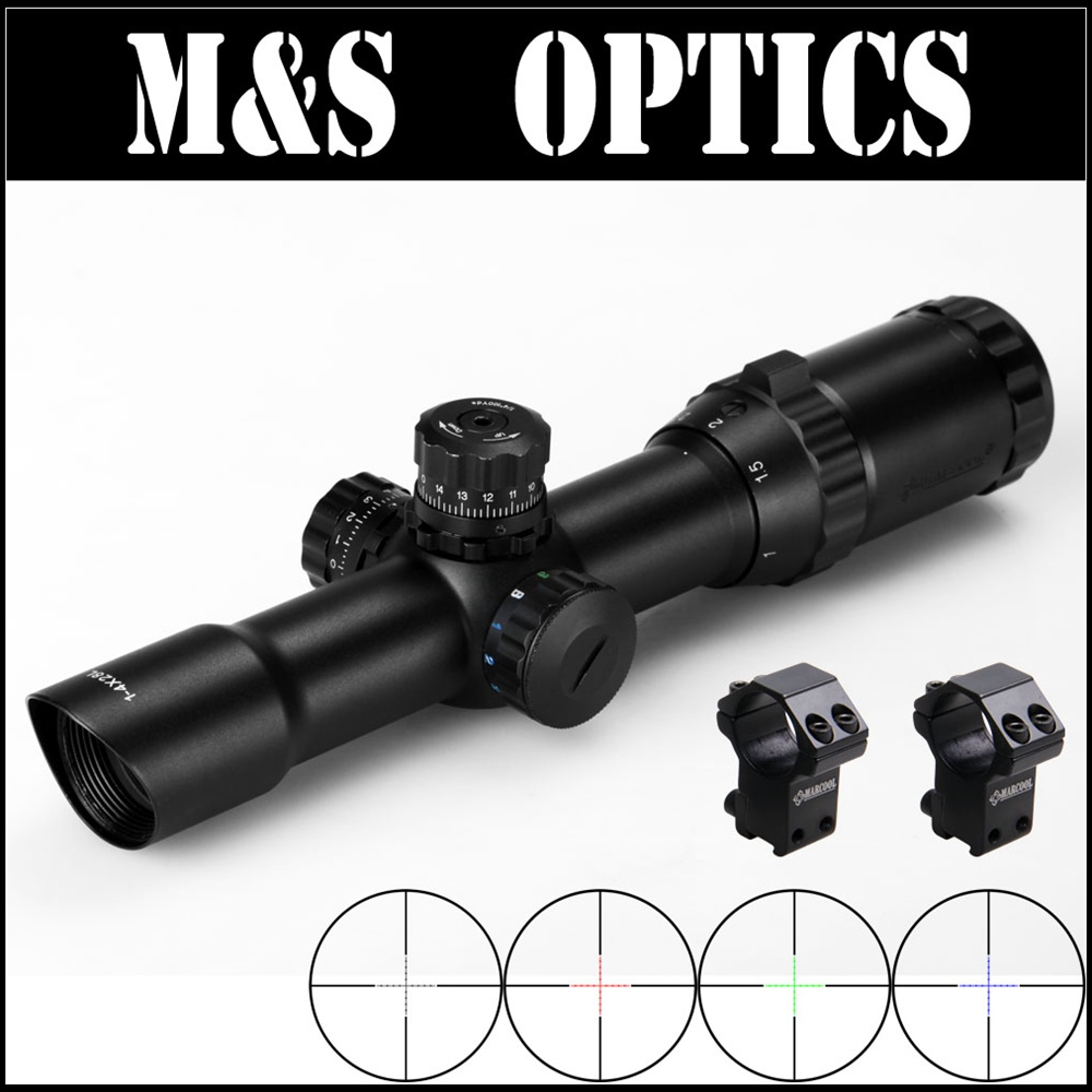 Marcool 1-4X28 RGB Mil-dot Air Soft Guns Tactical Reticle Refle Scope Optics Sight With Riflescope Mounts For Hunting Equipment