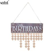 2018 New Heart Pattern DIY Wooden Hanging Calendar Board Family Birthday Reminder Special Date Sign Planner Mark Wall Calendario