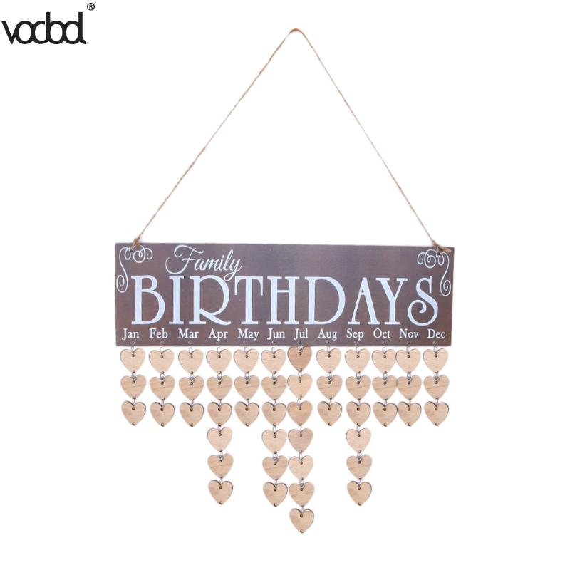 2018 New Heart Pattern DIY Wooden Hanging Calendar Board Family Birthday Reminder Special Date Sign Planner Mark Wall Calendario недорго, оригинальная цена