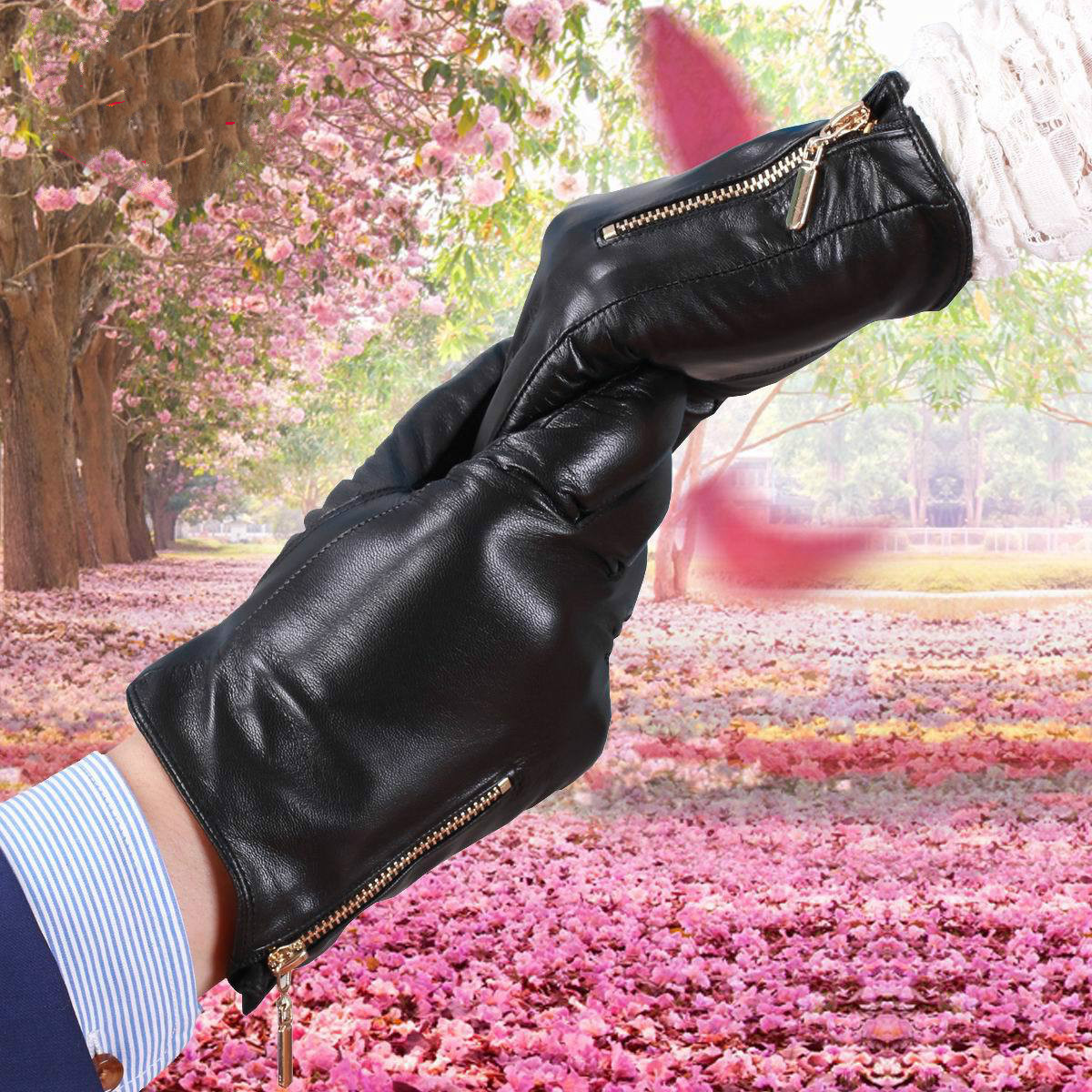 Mens velvet gloves - 2017 New Autumn And Winter Suede Gloves Men And Women S Genuine Leather Gloves Leather Gloves Plus Velvet Thermal Zipper Gloves
