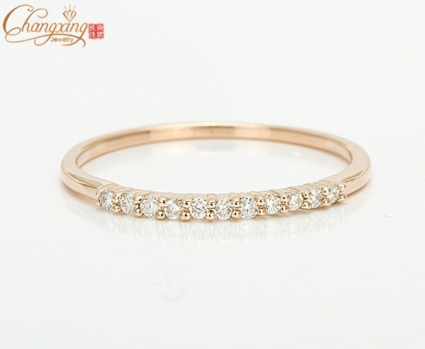 Sólido 14 K Rose Gold Natural 0.12ct Diamond Engagement Wedding Band