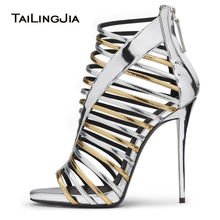 Open Toe Sliver and Gold Patent Leather Strappy Sandals Slim Platform Ladies Summer Heels High Heeled Dress Shoes Women Big Size цены онлайн