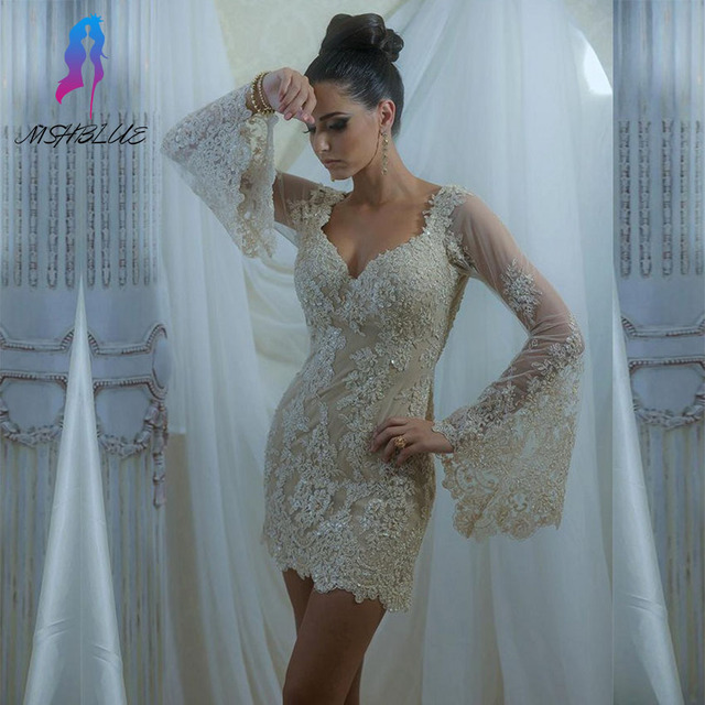 ef9e4d7264b 2017 Champagne Lace Full Sleeves Robe Cocktail Dresses Short Women Party  Dress Tulle Beads Zipper Back