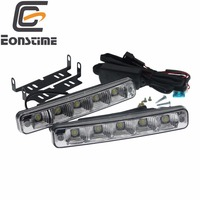 Eonstime 12V/12V 2pcs 10W 5 LED Car Lights Daytime Running Light High Power DRL Super Bright White 6500K LED housing aluminum