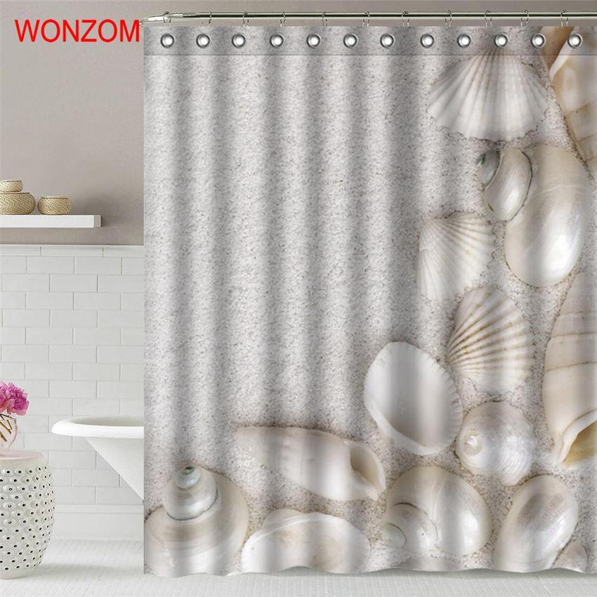 WONZOM Beach Sand Shower Curtain Fabric Bathroom Decor Decoration Cortina De Bano Polyester Shell Bath With Hooks Gift In Curtains From Home