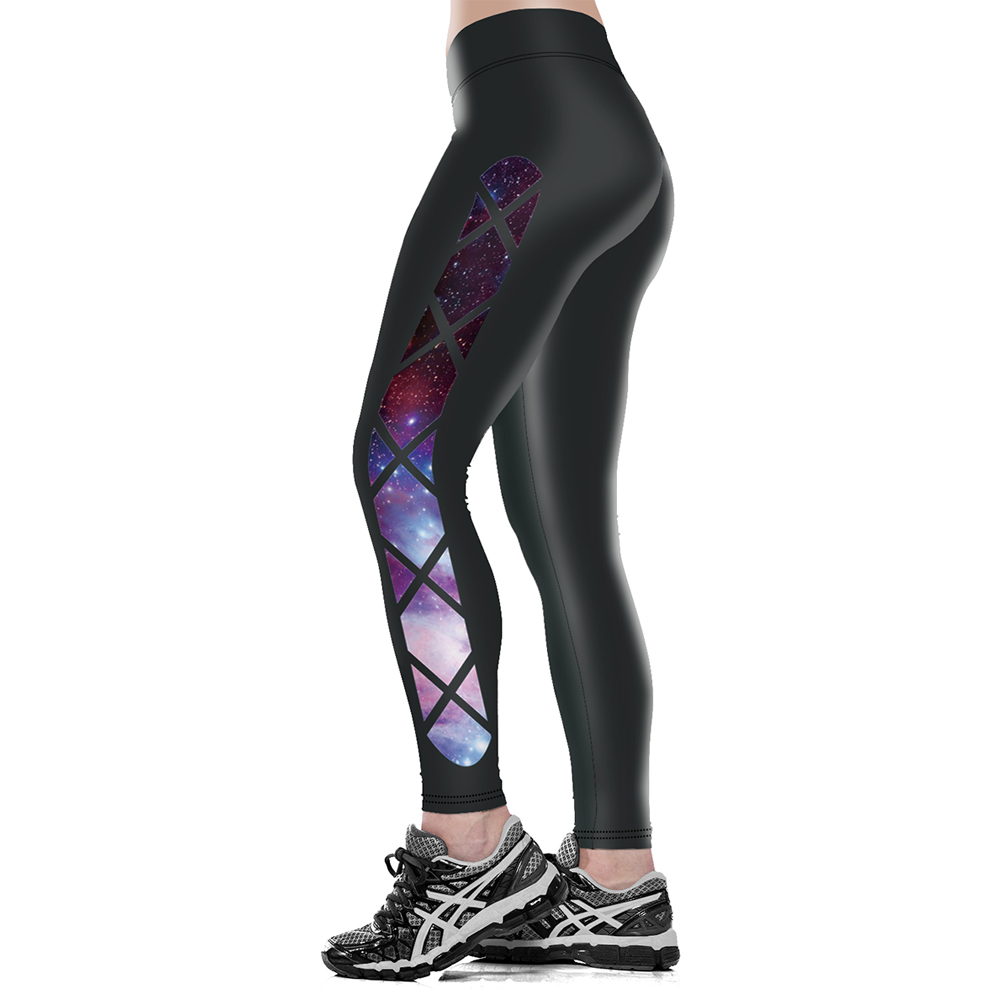 Fashion Wide Waist Leggings Galaxy Printed Good Smooth Women Pants Side Space Color Elastic Trousers Drop Ship