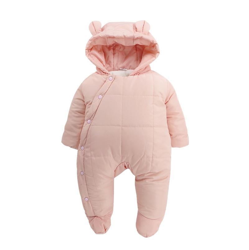 2017 New One Piece Down Cotton Baby Climb Hood Bag Climb Newborn Clothed Plus Velvet Romper Jumpsuit