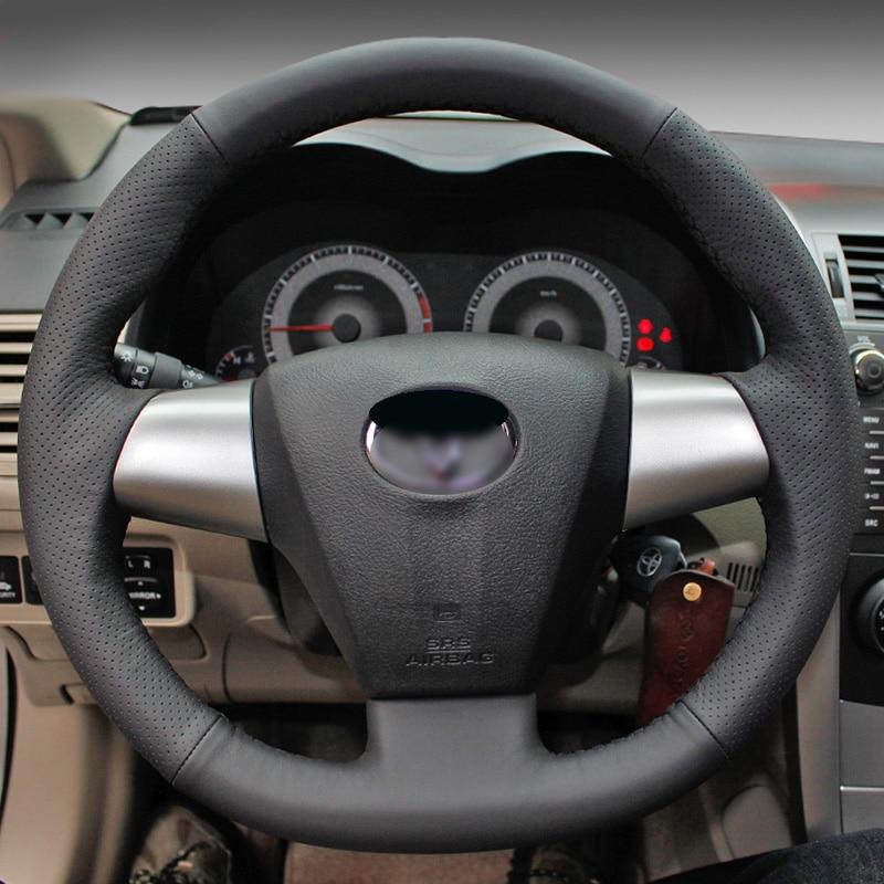 BANNIS crna umjetna koža DIY ručno ušivenim upravljač poklopac za - Dodaci za unutrašnjost automobila - Foto 3