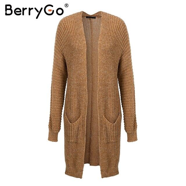BerryGo Winter knitted sweater long cardigan Women autumn long sleeve pocket cardigan Casual streetwear loose sweater jumper 5