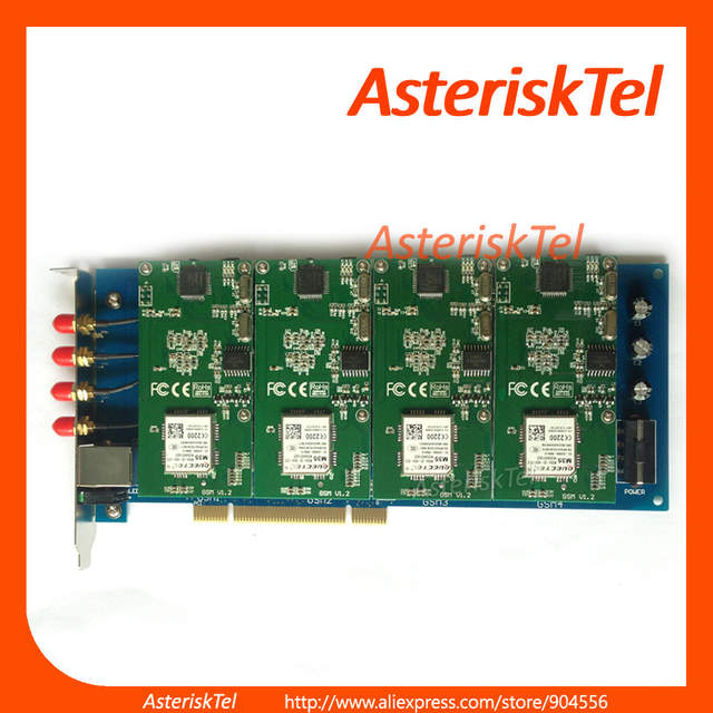 Asterisk GSM card,with 4 GSM modules,Supports Asterisk FreePBX Elastix,For  GoIP GSM Router PABX GSM pbx system VoIP Router