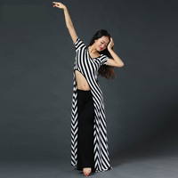 Belly Dance Suits Short Sleeve Irregular Striped Long Top Belly Dancing Pant 2pcs Set For Women