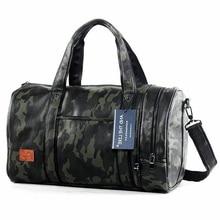 Купить с кэшбэком Camouflage Sport Bag Men For Gym Women PU Travel Bags Hand Luggage Mens Waterproof Bag Camping Leather Crossbody Outdoor Bag