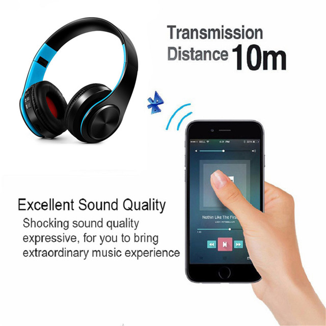 New Portable Wireless Headphones Bluetooth Earphone /Headset Foldable Stereo Audio Mp3 Adjustable Earphones with Mic for Music 3