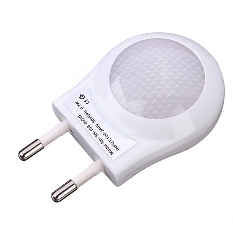 High Quality Mini LED 0.6W Night Light Lighting Control Auto Sensor Baby Kid Bedroom Lamp White EU Plug