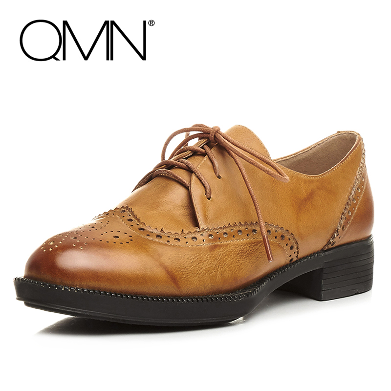 ФОТО QMN women distressed brushed leather brogue shoes Women Round Toe Lace Up Oxfords Shoes Woman Genuine Leather Flats