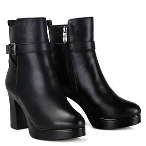 Image 3 - MORAZORA/2020; натуральная кожа; натуральная шерсть; зимние ботинки; Модные ботильоны; женские ботинки на платформе; женские зимние ботинки на высоком каблуке
