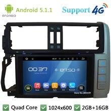 Quad Core 1024*600 Android 5.1.1 reproductor de DVD de coches DVD Radios DAB + 4G WiFi GPS Mapas para toyota Lander Cruiser Prado 2010-2013