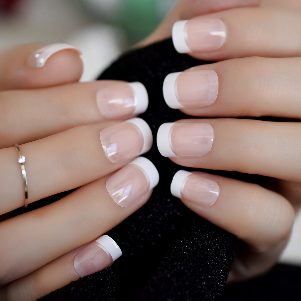 Square French Nails Silver Decoration Smile Line French ...