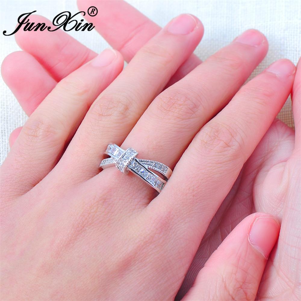 JUNXIN Luxury White Cross Ring Fashion White & Black Gold Filled ...