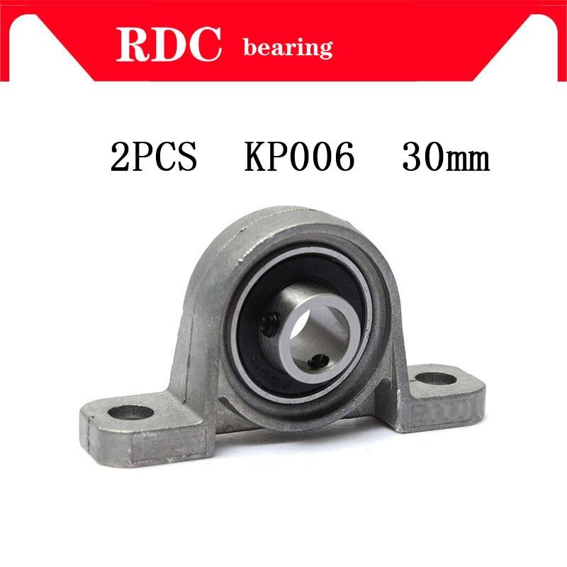 купить Free Shipping 2pcs KP006 30mm High quality pillow block bearing zinc alloy insert linear bearing shaft support CNC part по цене 1236.87 рублей