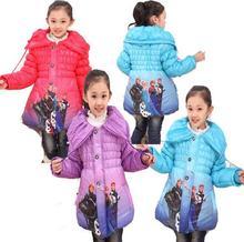 Bibihou 2017 Girls Kids Snow Queen Princess Children Elsa Winter Down Coat Jacket Kids Clothes Snowsuit Fur Parka Doudoune Fille