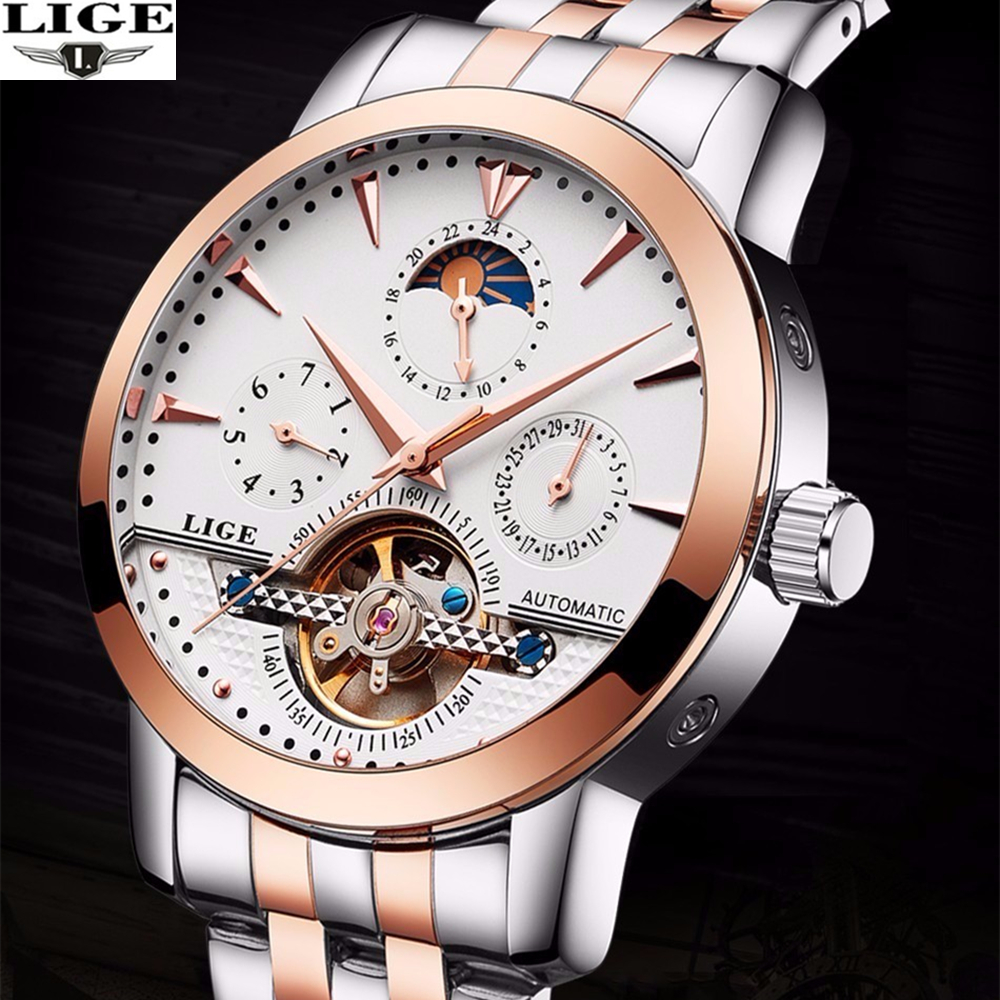 relogio masculino LIGE Mens Watches Top Brand Luxury Automatic Self-Wind Date Watch Men Business Steel Mechanical Wristwatch купить