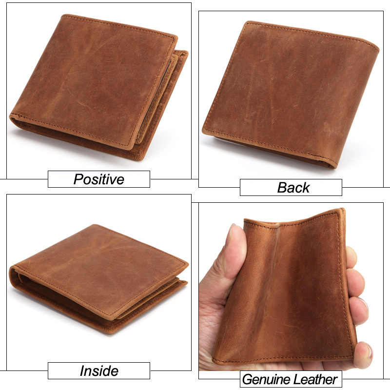 New Fashion Business Men's Wallets Crazy Horse Cow Genuine Leather Short Wallet High Quality Boy Brand Luxury Card Holder Purse