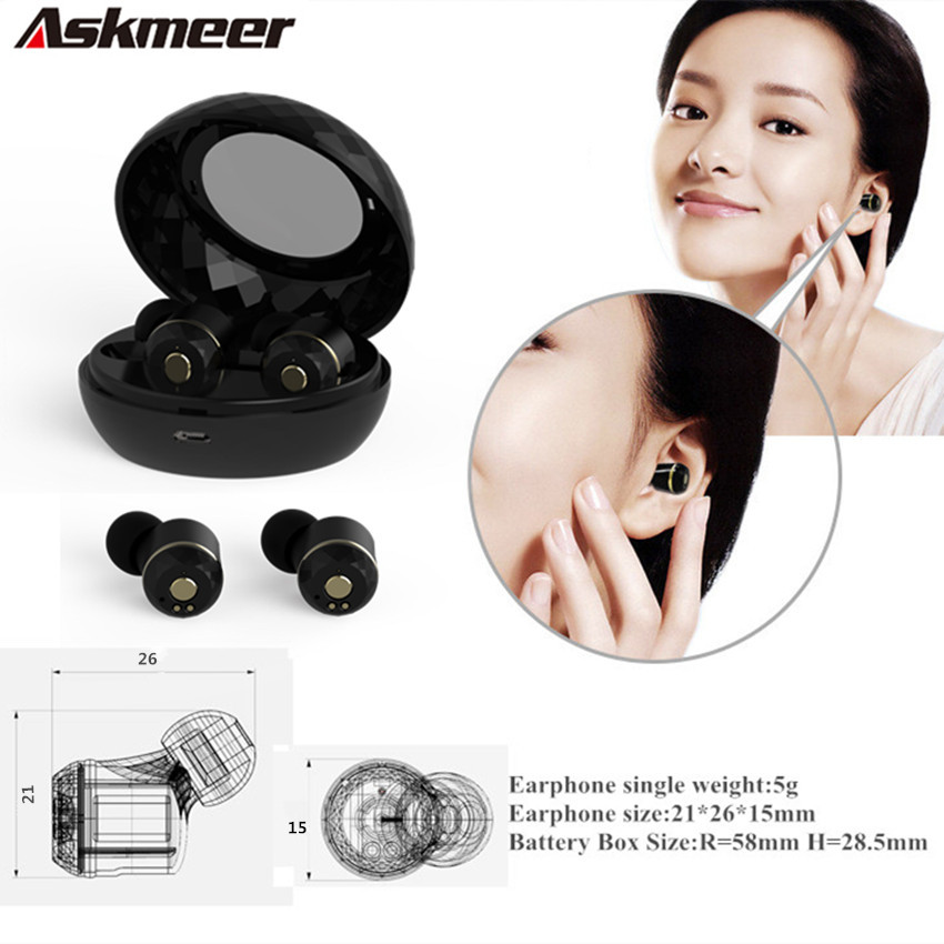 Askmeer I7S True Wireless Bluetooth Earphones TWS Mini Headsets Twins Sports Earbuds with Mic For iPhone 7 Plus Xiaomi Samsung x1t mini invisible twins true wireless bluetooth earphones csr 4 2 handsfree earbuds for iphone 7 plus samsung s6 xiaomi