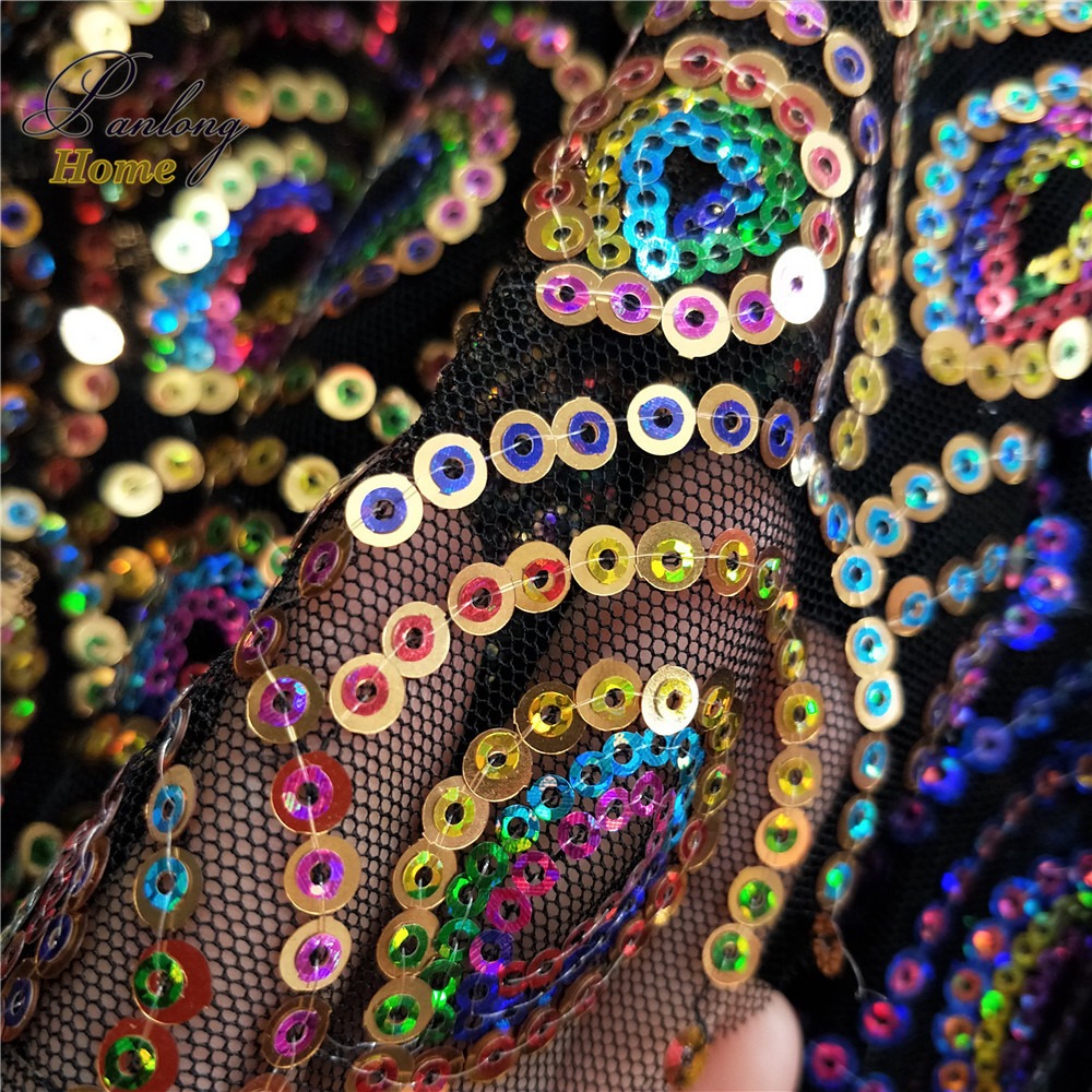 PanlongHome 1yard Colorful Peacock Shape 3mm+5mm Double Sequins Fabric Costumes Dance Clothing Fabrics Mesh Embroidery Cloth