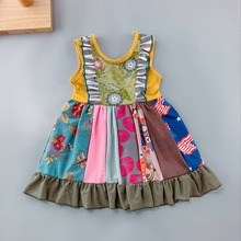New style 100% cotton Summer and Autumn white blue serrated stripe and ruffle trim Baby Girls Dress For baby's birthday present недорого