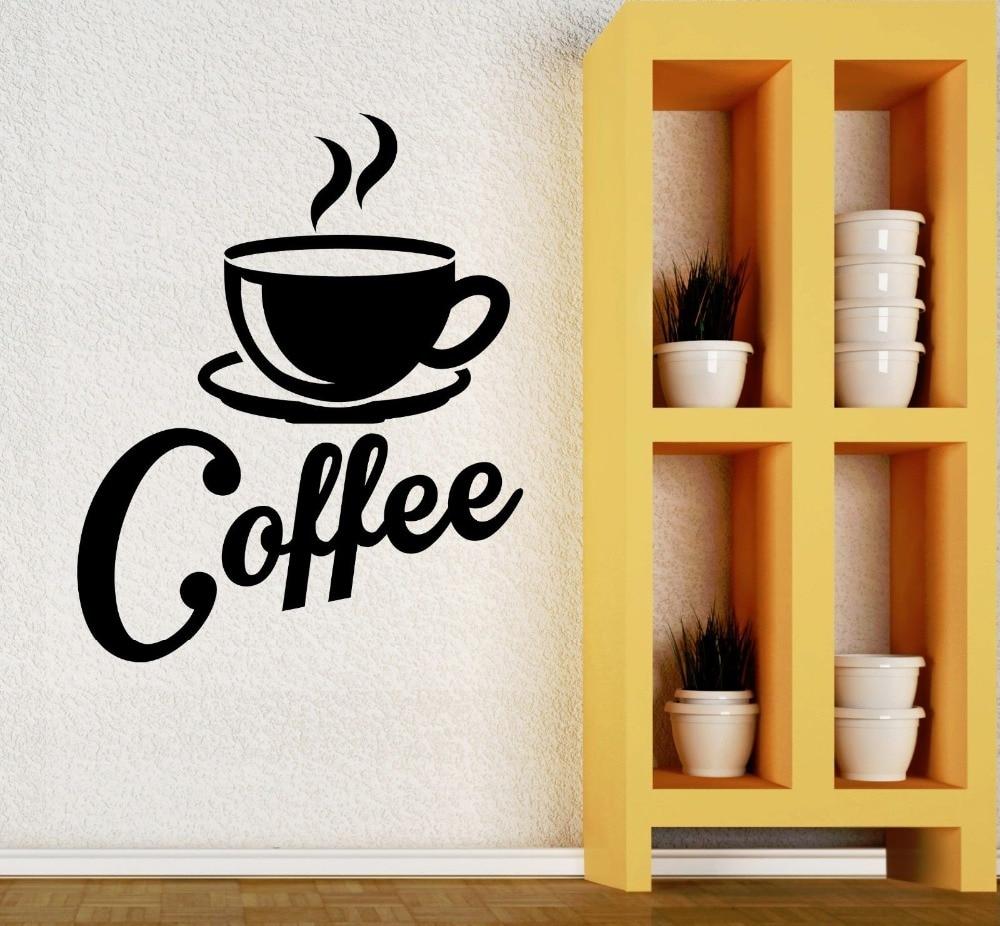 Kitchen fashion coffee mugs wall stickers vinyl wallpaper living ...