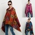 Nueva 2014 Otoño invierno Capa de Las Mujeres Outwear de Lana Blend impresión Manta Con Capucha Poncho Cabo Abrigo Chal 29