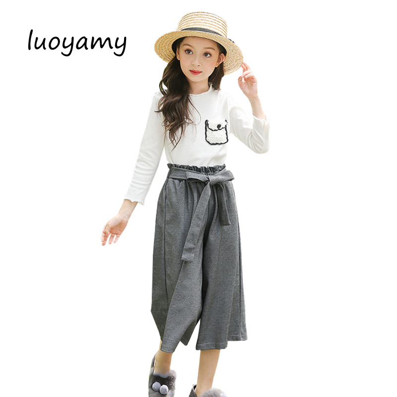 Girls School Sports Suit Uniform 2017 Autumn New Children Clothes Kids Jumpsuit T-shirt And Pants Baby Casual Sets autumn baby girls clothing sets navy style girls dress and t shirt suit sets girls school uniform kids children clothes hb2014